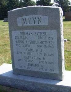 Meyn family gravestone in St. John Lutheran (Boyden), Sioux County, Iowa