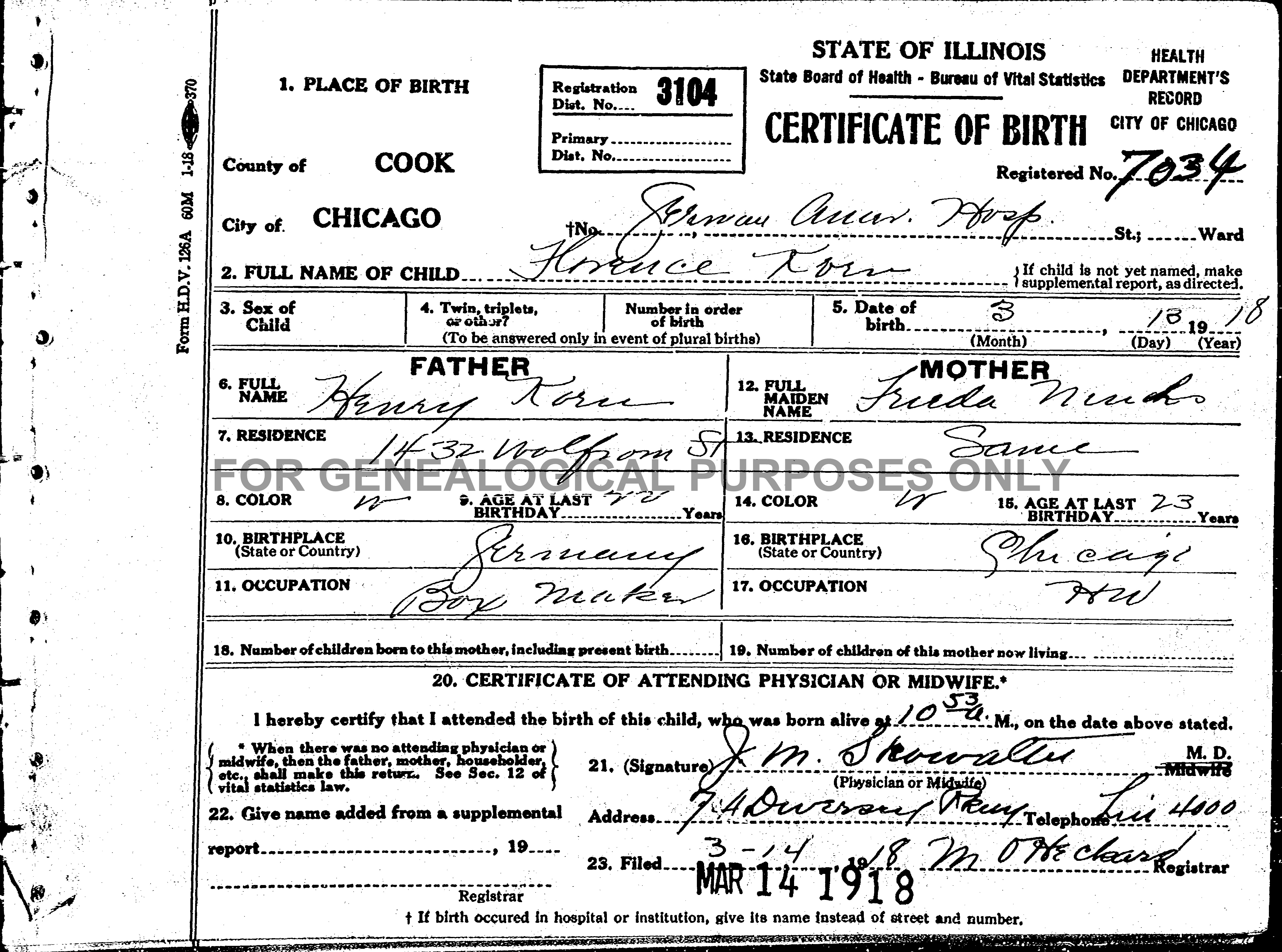 Added some records revisiting the past birth certificate florence korn this shows her parents names her mothers maiden name frieda muhs was indexed as frieda ninho aiddatafo Choice Image