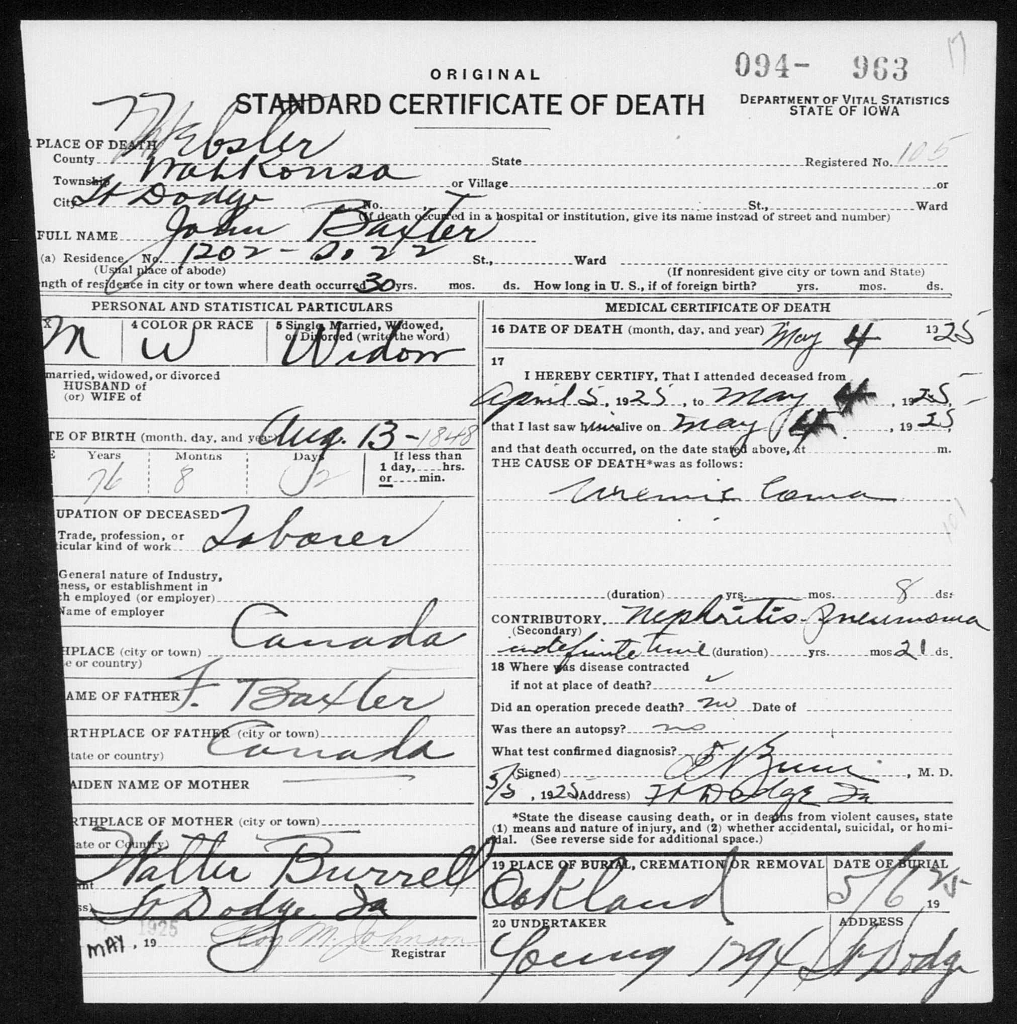 John Baxter death certificate