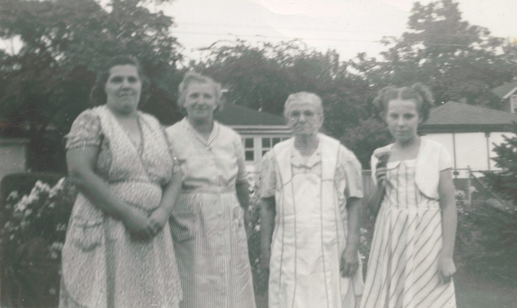 Four generations: Florence Korn Burrell, Frieda Muhs Korn, Johanna (Hannah) Cornilsen Muhs, Janice Burrell Snyder. Probably about 1950 or so.